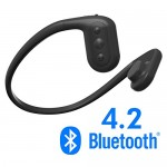 Tayogo waterproof headphones, MP3 player, bone conduction technology, IPX8 waterproof, powerful mobile phone APP can control Bluetooth, MP3, FM and pedometer four functions-Black